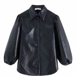 NEW WITH TAGS faux leather shirt blouse Zara in XS
